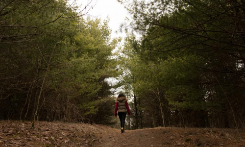 woman-walking-through-forest-clearing